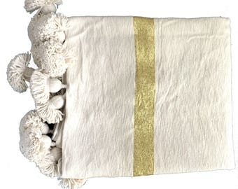ASSIA Striped Moroccan cotton blanket - CREAM GOLD cream