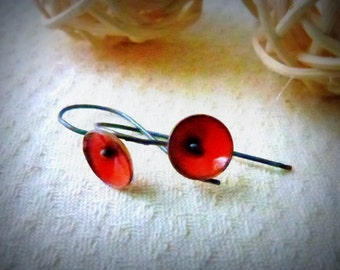 tiny poppy earrings torch fired enameled sterling silver orange red
