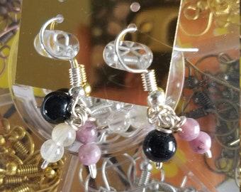 Obsidian, Citrine, Lepidolite Earrings