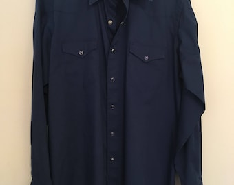 WRANGLER Pearl Snap WESTERN Shirt Dark Blue Large 17 x 36 Excellent