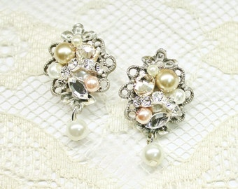 Champagne Earrings- Pearl and Rhinestone Earrings- Vintage-Inspired Studs- Bridal Earrings- Pearl Earrings- Wedding Earrings- Bridal Studs