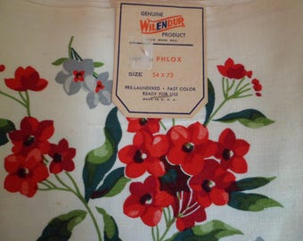 """Vintage Wilendur Tablecloth """"PHLOX"""" Red Gray Floral 54 x 72 Old Stock Paper Label"""