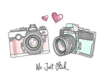 Valentines Watercolor Print - Vintage Cameras