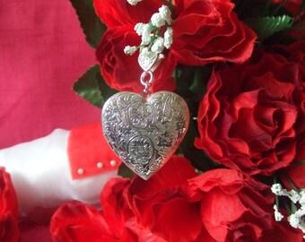 Bride Wedding Bouquet Heart Memory Photo Locket Charm, large, clasp, ribbon, Bridal Bouquet Memorial Keepsake, Memory Photo Boutonniere