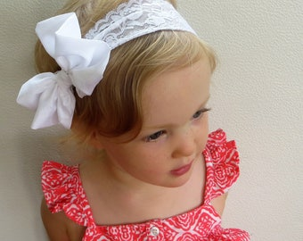 White Bow Headband, Big Bow Headband, Large Bow Headband, Extra Large Hair Bows, White Hair Bow, Lace Headband Baby White Headband Baby