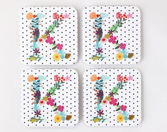 Monogram Coasters Personalized Paper Coaster Floral Bridal Shower Decor Black and White Polka Dot Floral Initial Custom Coaster Hostess Gift