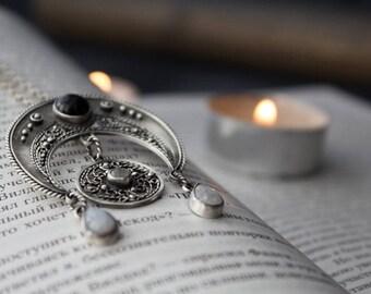 Naja silver pendant, silver bobo pendant month / moon, silver filigree pendant Moon, pendant moonstone ornament, Moon silver boho jewelry