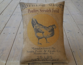 Feed Sack Chicken Burlap Pillow, Farmhouse Pillows, Farm45,  Vintage chicken label,  INSERT INCLUDED