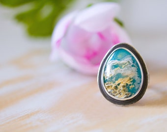 Turquoise Ring, Regency Rose Plume Agate Ring in Sterling Silver, Cocktail Ring - Size 9 - Self and Soul