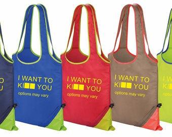 I Want to Ki** you options may vary Funny Printed Result Contrast Tote Gym Swimming Bag For Life 6 Colours New