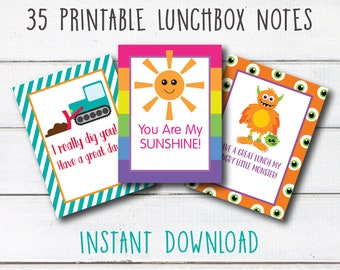 Lunchbox Love Notes, INSTANT DOWNLOAD, Printable Lunchbox Cards, Preschool Lunch Bunch Notes, Elementary School Lunchbox Cards, Digital