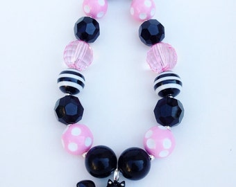 Black cat chunky necklace, black and pink cat necklace