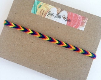 LGBT Fishtail Friendship Bracelet / French Braid Friendship Bracelet / LGBT Bracelet / Rainbow Bracelet / Pride Bracelet / Colorful Bracelet