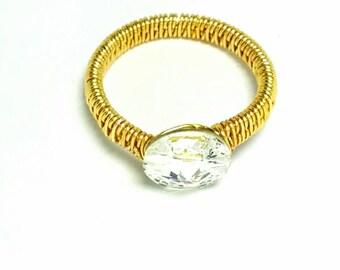 Swarovski Crystal Gold Finish Ring, Gold Finish Ring, Non-Tarnish Ring, Wire-Wrapped Ring, Gold Ring, Swarovski Rivoli Button