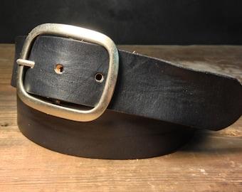 Black Leather snap belt -   - B100  Handmade in USA Groomsmen Wedding