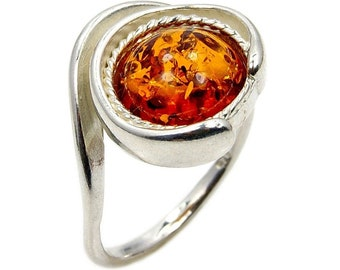 Eye of the Soul Amber Ring Sterling Silver Baltic Amber Ring Size 5.75 AD357 Jewelry