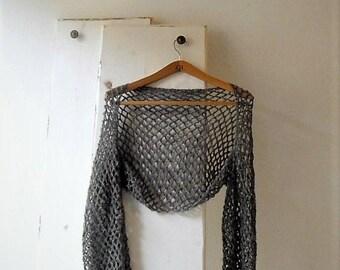 Grey crochet lace shrug, bolero, alpaca and silk shrug