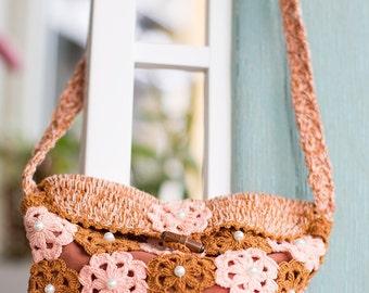 Flower Pink Brown Shoulderbag in Crochet Pattern