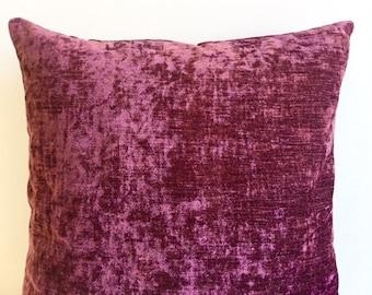 Plum Chenille Pillow Cover 18x18 Pillow Chenille Plum Pillow Designer Pillow Chenille Pillows Chenille Cushion Plum Sofa Pillow Cover