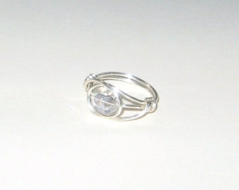 Clear AB Faceted Glass Silver Wire Wrapped Ring