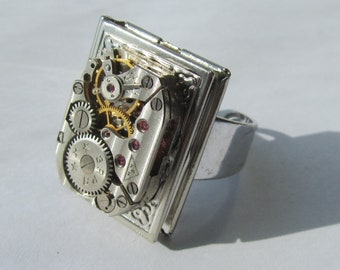 Steampunk Book locket Watch Adjustable Ring reader gift Timepiece Jewellery Birthday gift for Her Cosplay costume Clockwork Ring  Grey ring