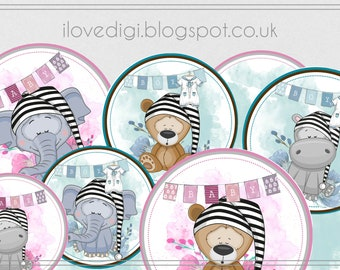 New baby Digital collage sheet - high resolutions circles image - scrapbooking, cardmaking, tags, invitations, etc.