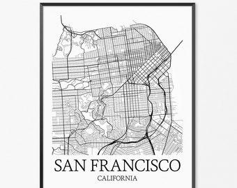 San Francisco Map Art Print, San Francisco Poster Map of San Francisco Decor San Francisco City Map Art, San Francisco California Art Poster