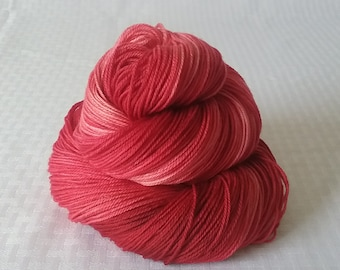 "Hand dyed Yarn / Handdyed Yarn, Sock Yarn, Gradient Yarn - ""Santa Red"" Tonal Yarn –  75/25 Superwash Merino and Nylon – 100g"