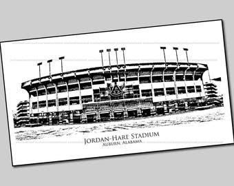 Jordan-Hare Football Stadium Print - Auburn Football Stadium Art - War Eagle - Auburn University