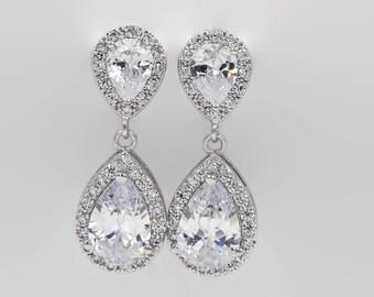 Crystal drop earrings, Silver crystal earrings, rose gold, stud, wedding earrings,  bridal jewelry, mother  bride, Prom earrings