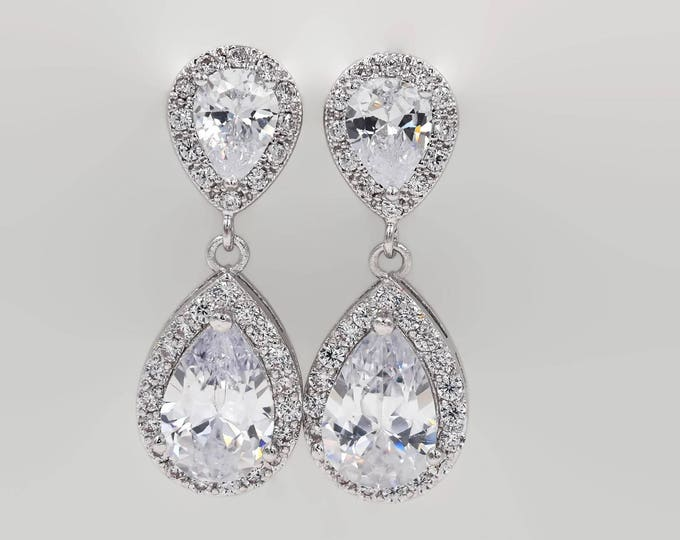 Clip on or pierced, Crystal drop earrings, Silver crystal earrings, stud, wedding earrings,  bridal jewelry, mother  bride, Prom earrings