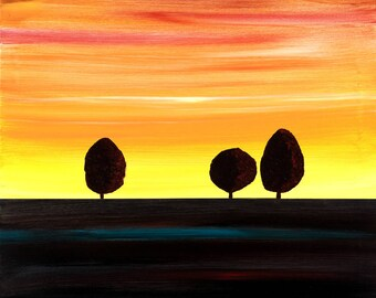 Three Trees - Print on Canvas / Original Landscape Art / Various Sizes