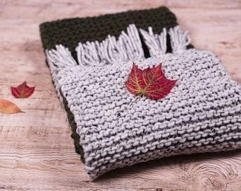 Grey and khaki wool fringed scarf