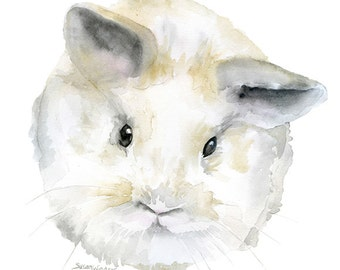 Fluffy Baby Bunny Rabbit Watercolor - 4 x 6 - Giclée Reproduction Fine Art Print Woodland Animal Nursery Decor