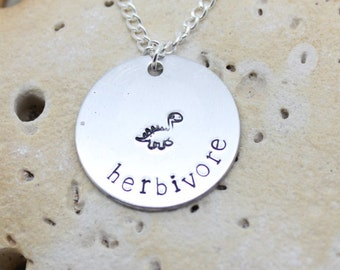 Herbivore dinosaur necklace - vegan jewellery - vegan jewelry - handstamped necklace