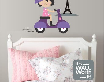 French Girl on Scooter in Paris with Eiffel Tower Vinyl Wall Decal - Girl's or Teen's Room Wall Decal