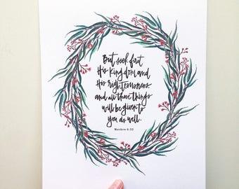 Matthew 6:33 Hand Lettered Art Print