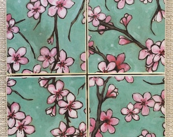Tile Coaster Set of Four Cherry Blossom Pattern Coasters with Cork Backing