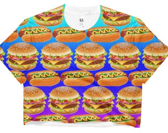 Hamburgers and Hot Dogs Rainbow Crop Top