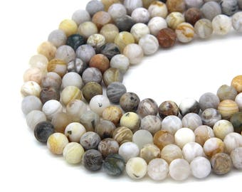 Matte Bamboo Agate Beads 6mm 8mm 10mm Natural Bamboo Agate Beads Mala Beads Supplies Bamboo Agate Bracelet Necklace Supplies