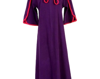vtg 60s 70s Vanity Fair RETRO Mod Purple Red Trim Robe Nightgown P sz S