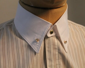 men's detachable collar, white cotton collar with rhinestone studs, vintage style collar for dress shirt