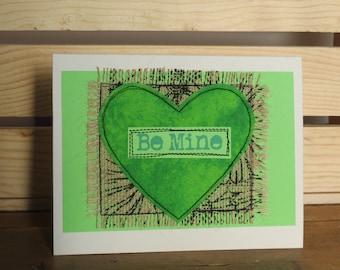 Quilted Burlap Valentine Card, Handmade Burlap Card, Mixed Media Card