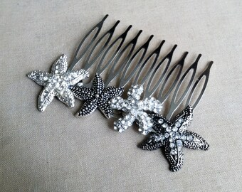 Starfish hair comb, Beach Wedding hair accessories, beach wedding comb, silver gunmetal rhinestone black crystal Bridal