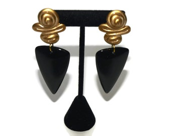 Vintage Large Black and Gold Swirl and Triangle Dangle Earrings Costume Jewelry from 80s-90s
