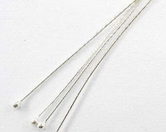 25 of 925 Sterling Silver Head Pins 39.5 mm. :th0824
