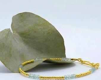 Aquamarine Bracelet - March Birthstone Bracelet - Blue Bracelet - Boho Jewellery - 24k Gold Vermeil - 24k Gold Plated Silver