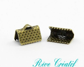 50pcs Iron Ribbon Ends, Antique Bronze Color, about 10mm long, 7mm wide, 5mm thick, hole: 2mm