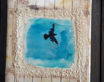 Bird in the Window, original encaustic painting, wall art on cradled panel