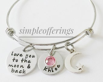 I Love You To The Moon And Back Bracelet, Daughter Gift, Birthday Gift for Daughter, Personalized Bangle,